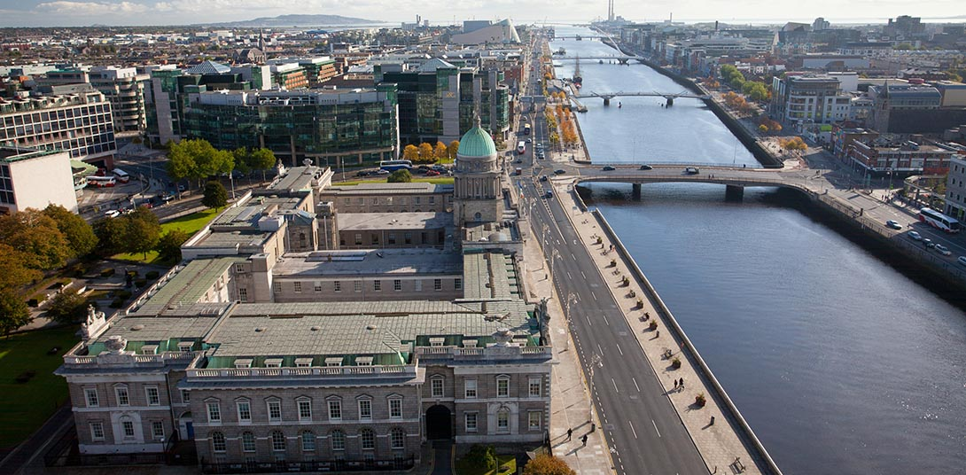 Aerial view east of the River Liffey towards the Docklands, Dubl